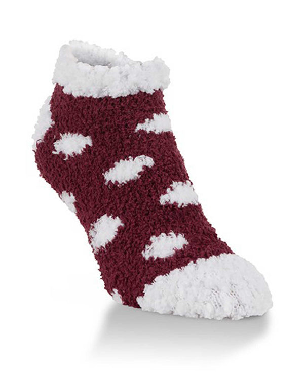 World's Softest Socks WSTMLOW-640 Maroon and White Dot Low Socks
