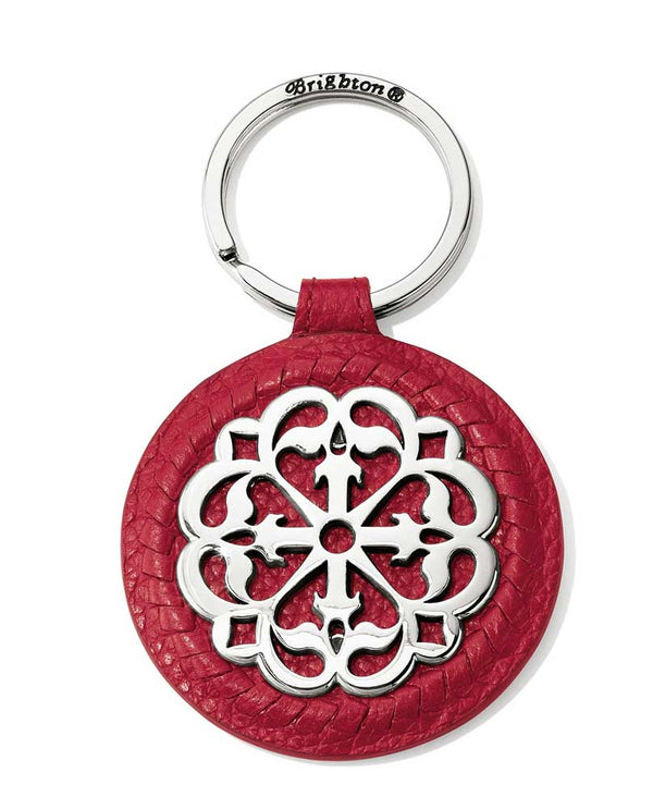 Lipstick Brighton E1764L Ferrara Leather Key Fob with silver Ferrara motif in the center
