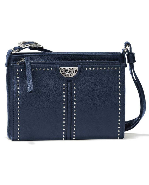 Miidnight leather Brighton T4319M Pretty Tough City Organizer with edgy studs and crossbody strap