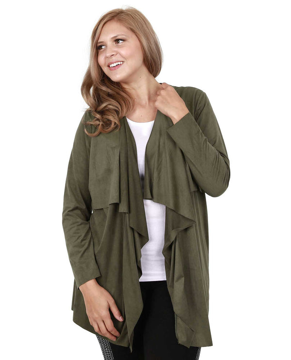 Olive Vocal 15125CX Womens Faux Suede Cardigan
