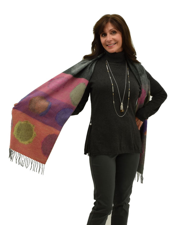 Fraas 625374 Watercolor Dots Scarf