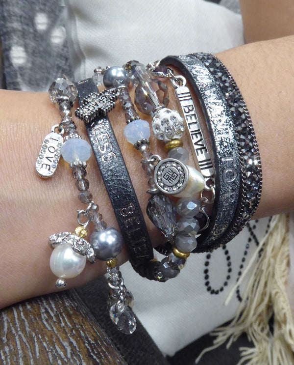 Silver Good Works America Dream Bracelet AMC780DRM has 6 layers of leather and boho charms