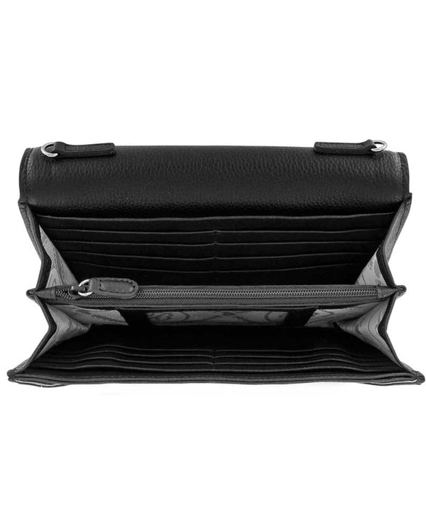 Black leather Brighton Solstice Envelope Organizer T43863 interior with 14 card slots