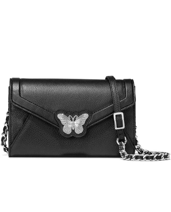 Black leather Brighton Solstice Envelope Organizer T43863 with silver butterfly hardware