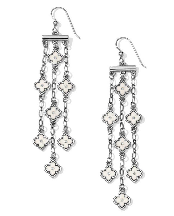 Silver white Brighton JA3723 Toledo Alto French Wire Earrings with delicate white flowers