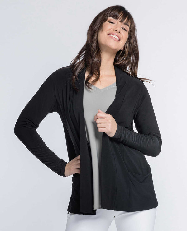 Sympli 25112 Go To Cardigan Short black cardigan with pockets made of wrinkle resistant fabric
