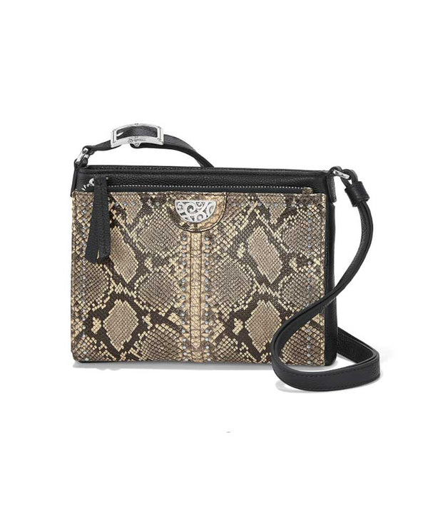 Brighton T43194 Pretty Tough City Organizer Python has an adjustable strap and snakeskin printed leather for a stylish look