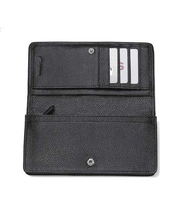 Interior of Brighton T34874 Rockmore Wallet in Python doubles as a crossbody bag and has 11 card slots with snap closure
