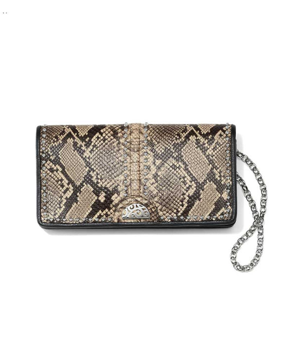 Brighton T34874 Rockmore Wallet in Python doubles as a crossbody bag with chain strap and has a city chic snakeskin print