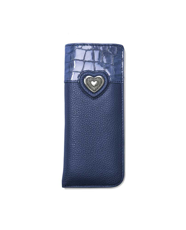 Brighton E5220F Bellissimo Heart Reader Case French Blue with Italian leather trim and Brighton heart