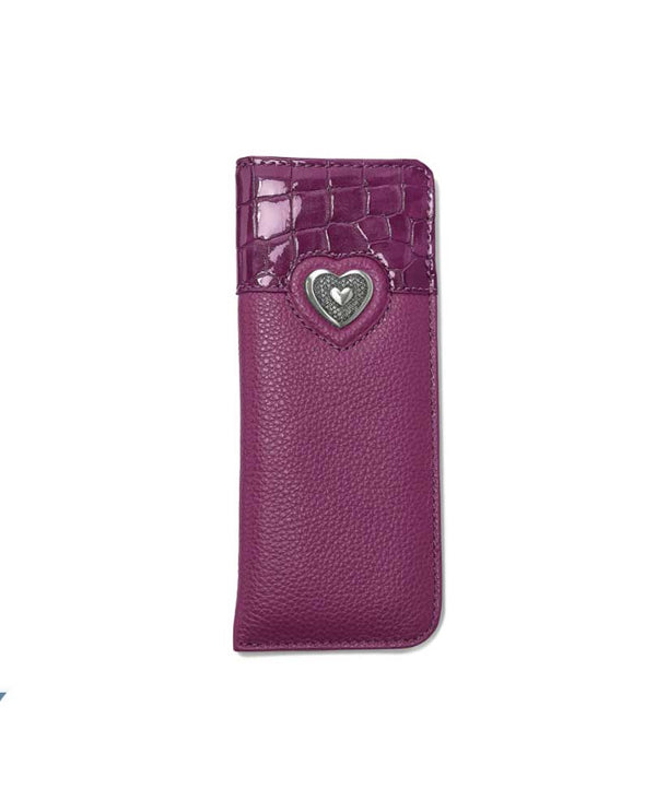 Brighton E5220G Bellissimo Heart Reader Case in guavaberry protect your glasses from the outside world with Italian leather