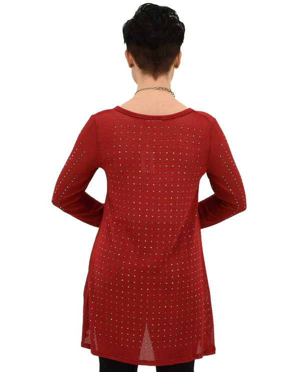 Back of Very Moda Long Sleeve Pullover in Red pullover with rhinestones that sparkle like diamonds
