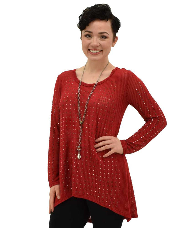 Very Moda Long Sleeve Pullover in red pullover with rhinestones that sparkle like diamonds