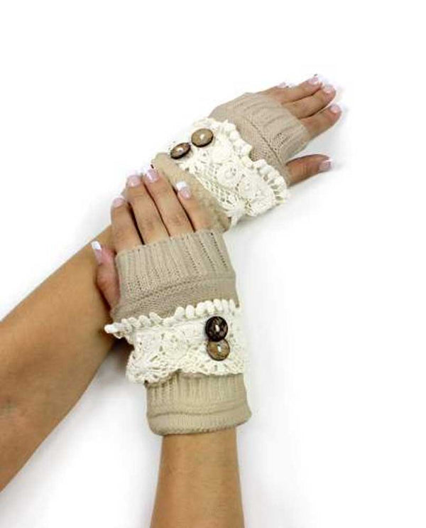 Beige Lace Trim Fingerless Glove keeps your hands warm with a rustic touch