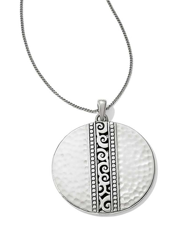 Silver Brighton JL8820 Mingle Disc Necklace has a stripe of the mingle motif on a round pendant