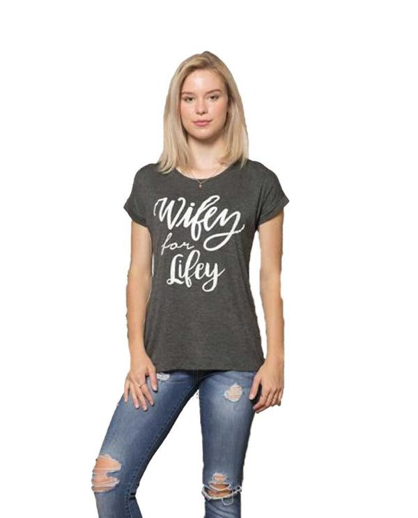 Charcoal lightweight casual Wifey For Lifey Tee with white lettering