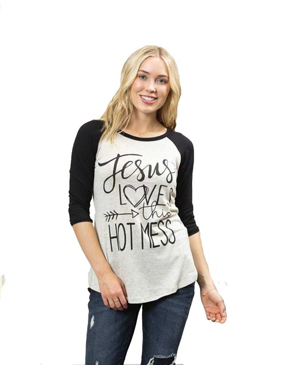 Black oatmeal 3/4 sleeve Jesus Loves This Hot Mess Baseball Tee with black sleeves