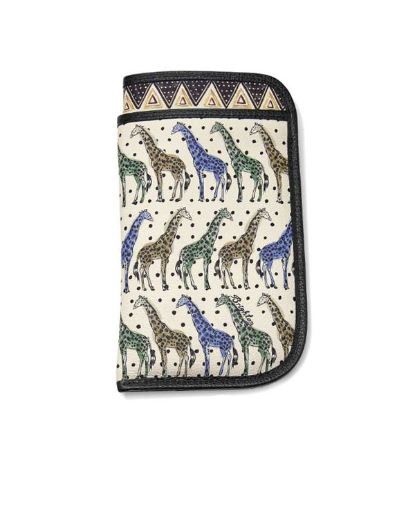 Brighton E5259M Africa Stories Double Eyeglass Case in multi with multi colored giraffes and tribal inspired art from Africa