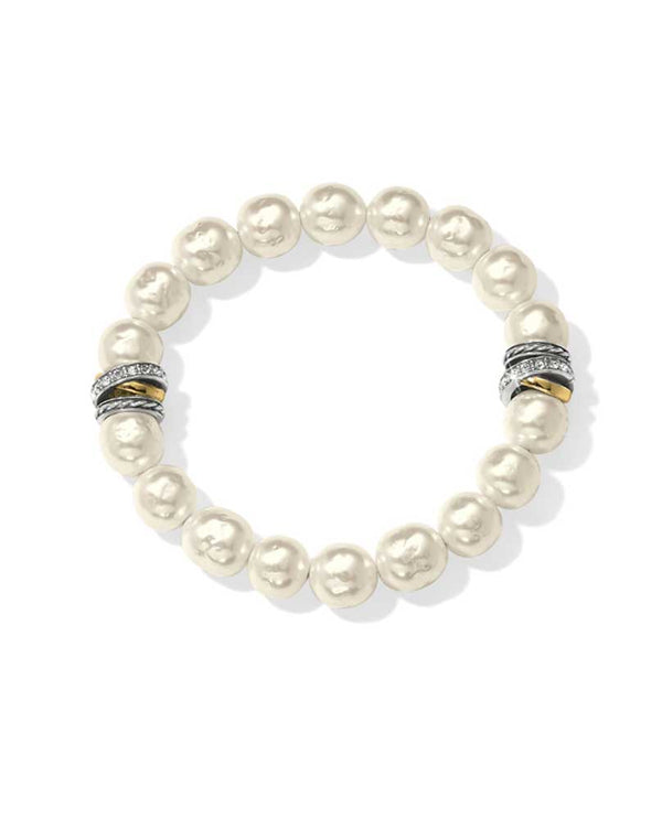 Brighton JF540P Neptune's Rings Pearl Stretch Bracelet in cream has Japanese pearls along with Neptune's silver and gold Rings