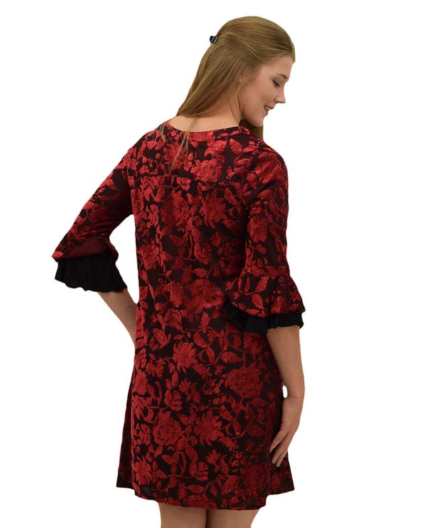 Rabbit Rabbit 392V20 Velvet Burnout Ruffle Sleeve Dress with 3/4 bell sleeves
