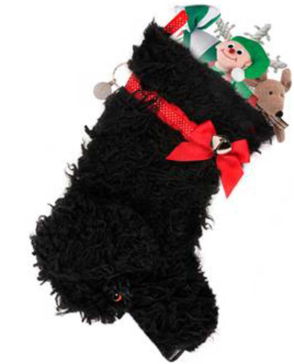 Hearth Hounds HH57 Curly Black Dog Stocking