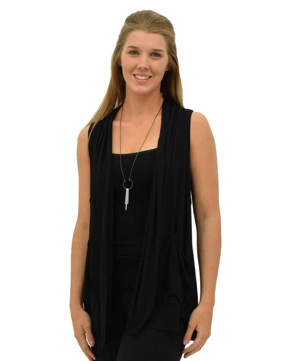 Comfy USA Charleston Vest black is soft comfortable vest with fitted back to slim you down