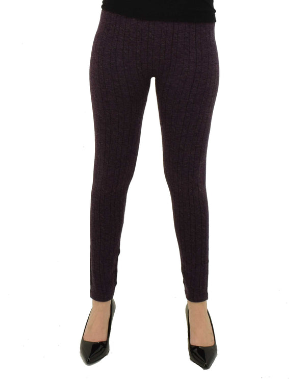 Plum Shimmer Rib Cable Cashmere Leggings 20294Z stretchy comfortable knitted leggings with fleece