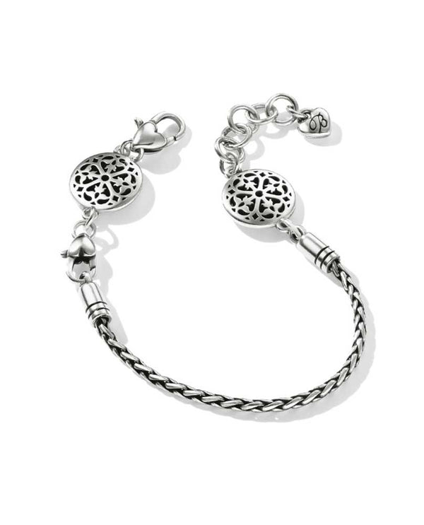 Brighton D30179 Ferrara Slide Bracelet in silver features two clasps so you can easily add or remove medallions or beads