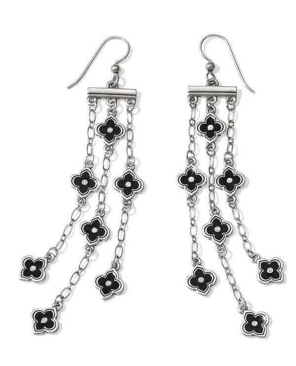 Silver black Brighton JA3720 Toledo Alto Noir French Wire Earrings with black flowers and Swarovski