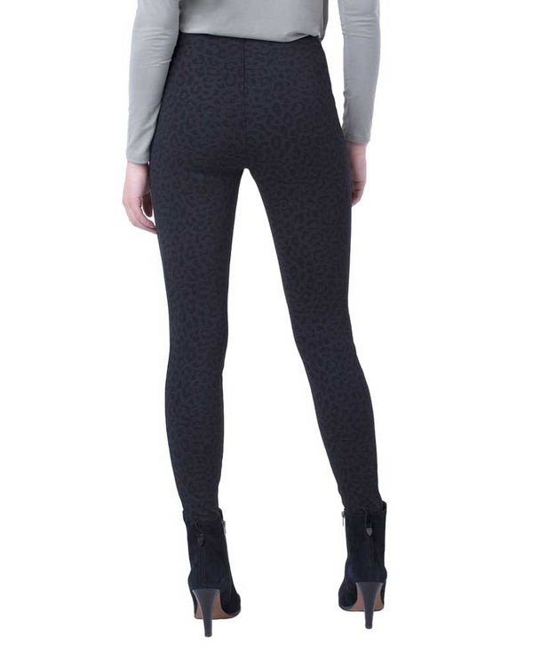 Back of Liverpool Jeans Reese High Rise Ankle Cheetah Leggings LM2121Z11 black with tummy control