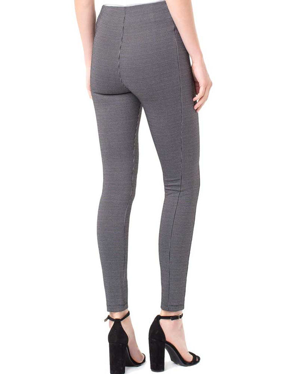 Back of Liverpool LM2121ZZ Reese Highrise Ankle Pixel Leggings in Black/Grey have a tummy control panel and sleek design