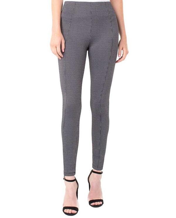 Liverpool LM2121ZZ Reese Highrise Ankle Pixel Leggings in Black/Grey have a tummy control panel and sleek checkered design