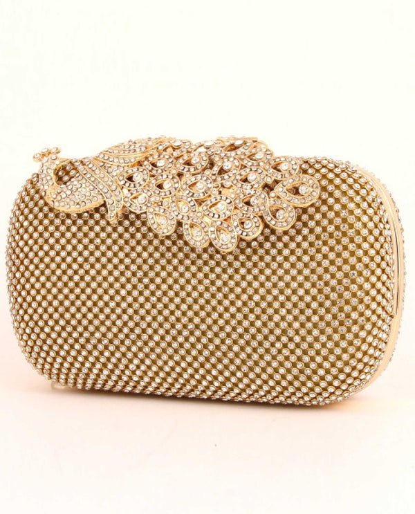 Gold Peacock Clasp Evening Bag