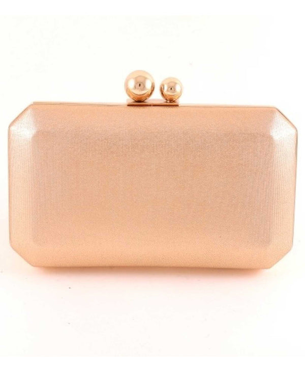 Champagne Double Knob Clutch Evening Bag