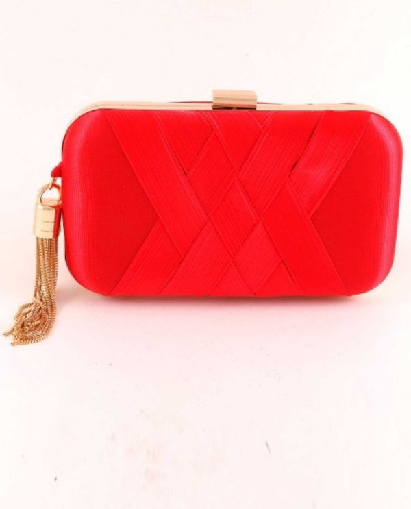 Red Ribbed Satin Evening Bag