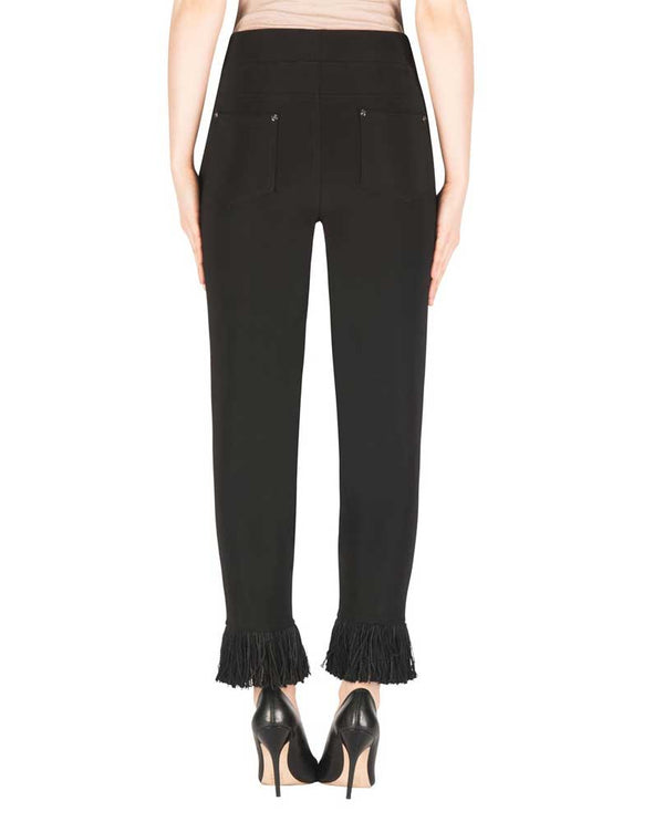 Back of Joseph Ribkoff 183101 Fringe Hem Pant in black have a fringe hem and easy pull on elastic waist for comfort