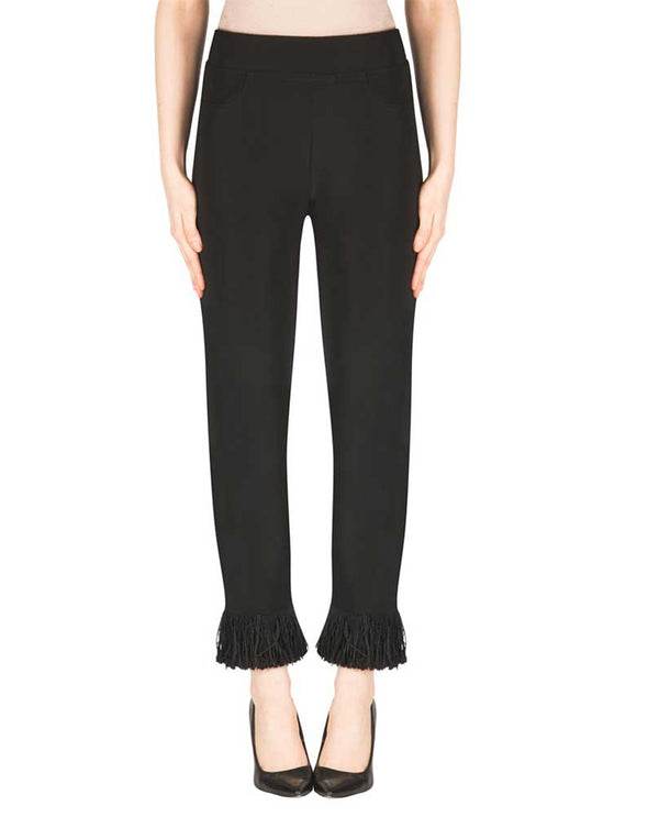 Joseph Ribkoff 183101 Fringe Hem Pant in black are elastic waist pants with fringe around the hem for added style