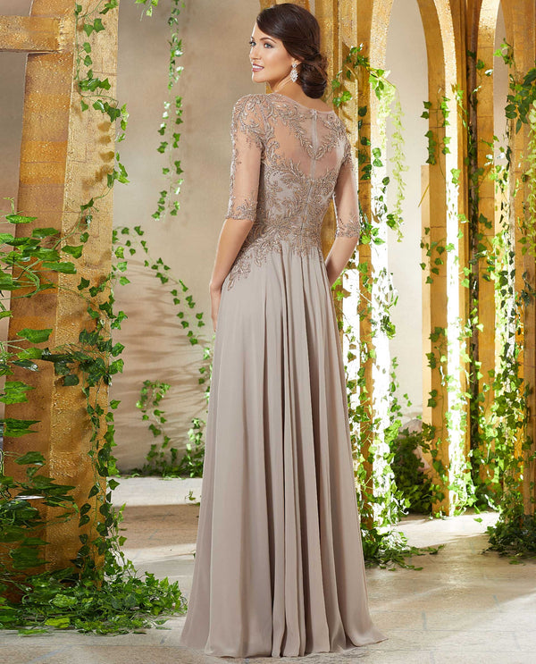 MGNY 71908 Beaded Bodice Chiffon Dress taupe figure-flattering A-line gown with lace sleeves