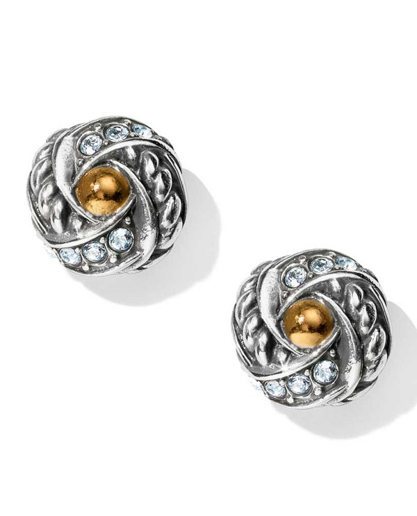 Silver gold Brighton JA4183 Neptune's Rings Knot Post Earrings with Swarovski crystals
