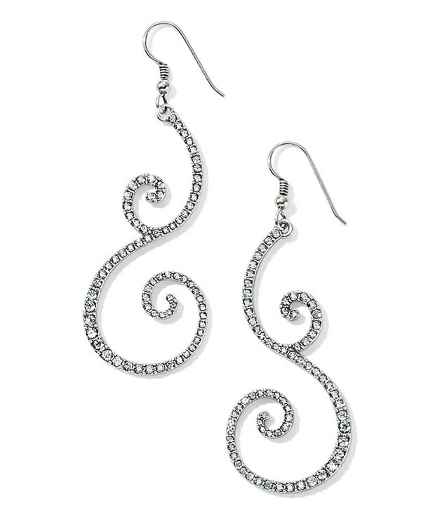 Silver Swarovski crystal Brighton JA3451 Sea Of Love Crystal French Wire Earrings with swirls