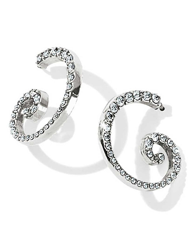Silver Brighton JA3444 Sea Of Love Crystal Hoop Earrings swirly design with Swarovski crystals