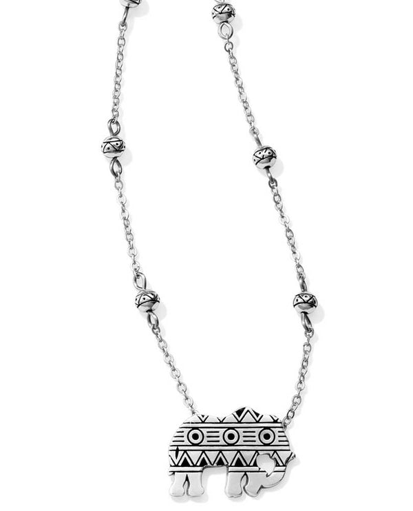 Silver Brighton JL9430 Africa Stories Elephant Necklace with tribal print elephant and beads