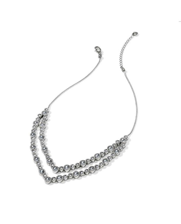 Brighton JL8891 Infinity Sparkle Collar Necklace In silver has Swarovski crystals lining it with a show stopping v shape