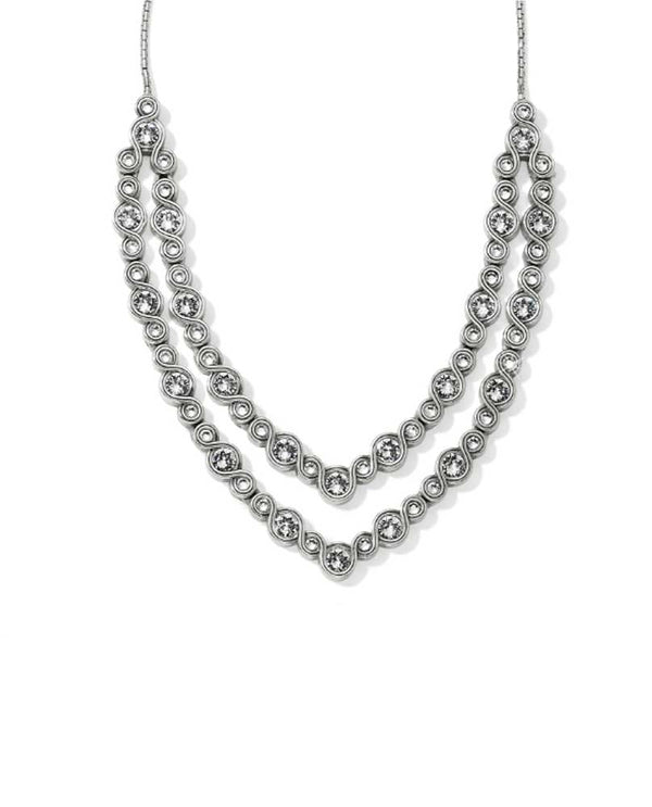 Brighton JL8891 Infinity Sparkle Collar Necklace In silver has Swarovski crystals lining it with a dramatic v shape