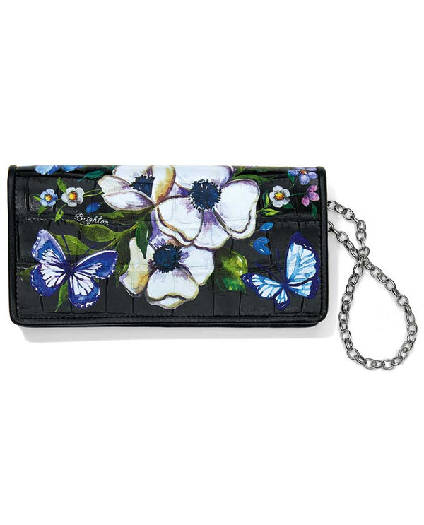 Black multi Brighton T35033 Noir Jardin Rockmore Wallet with hand painted flowers and butterflies