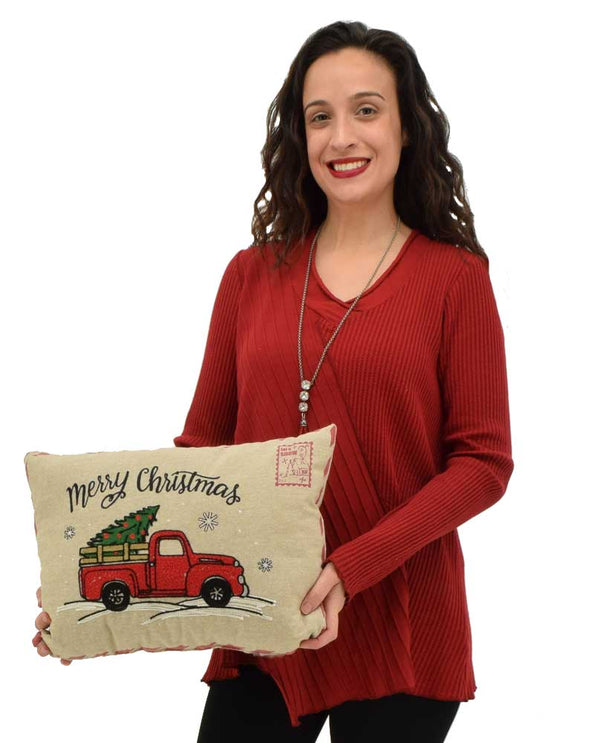 Opportunities Inc. Red Truck Christmas Pillow 67363 with red truck hauling a Christmas tree and snow