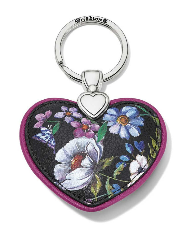 Multi heart shaped Brighton E17773 Noir Jardin Heart Key Fob with hand painted flowers and butterfly