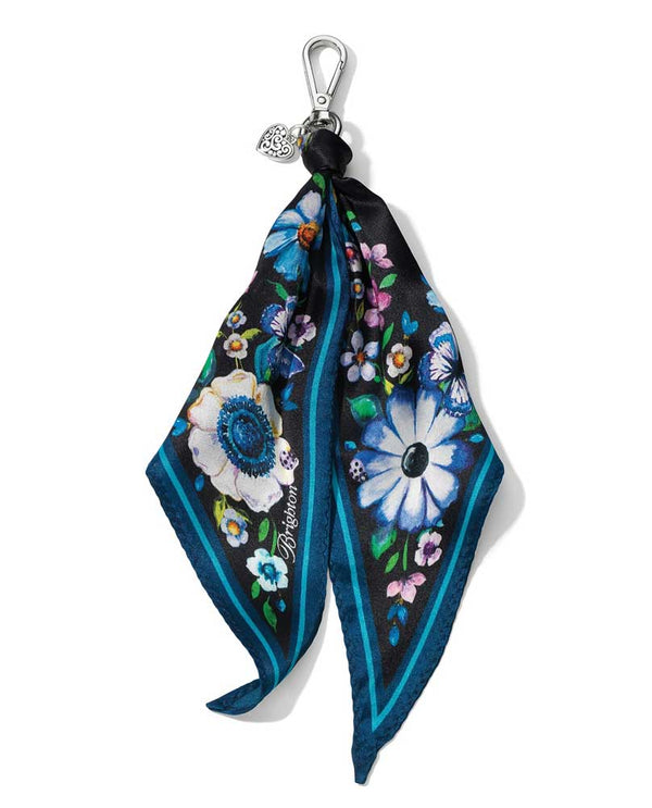 Brighton E17783 Noir Jardin Scarf Fob with floral background inspired by midnight garden stroll