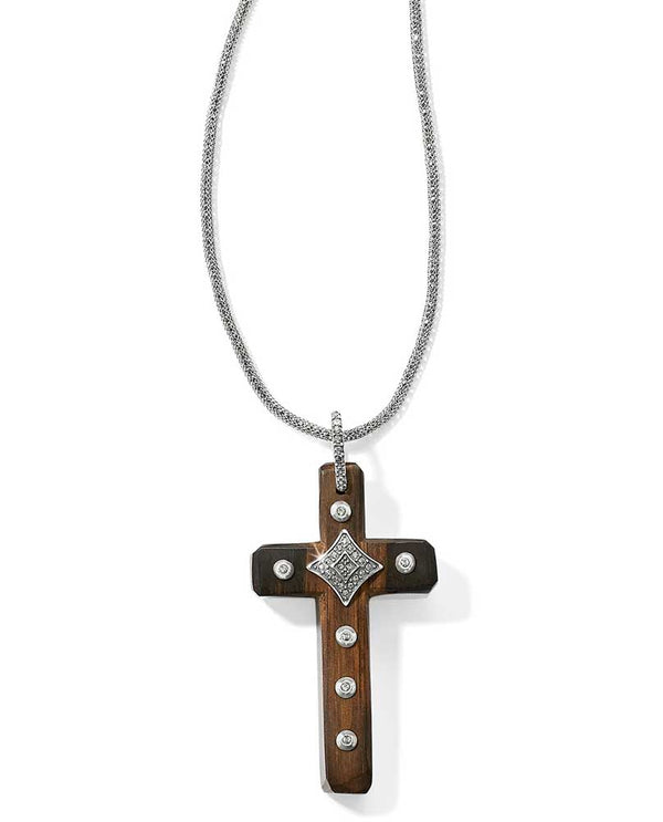 Silver-Brown Brighton Byzantine Cross Necklace JL9200 wooden cross necklace with silver