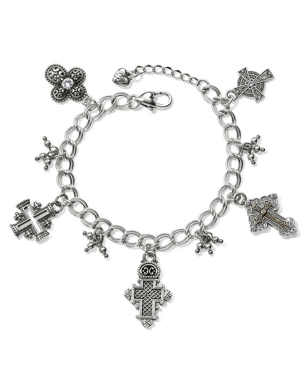 Silver Brighton JF5623 Crosses Of The World Bracelet features cross charms from all over the world
